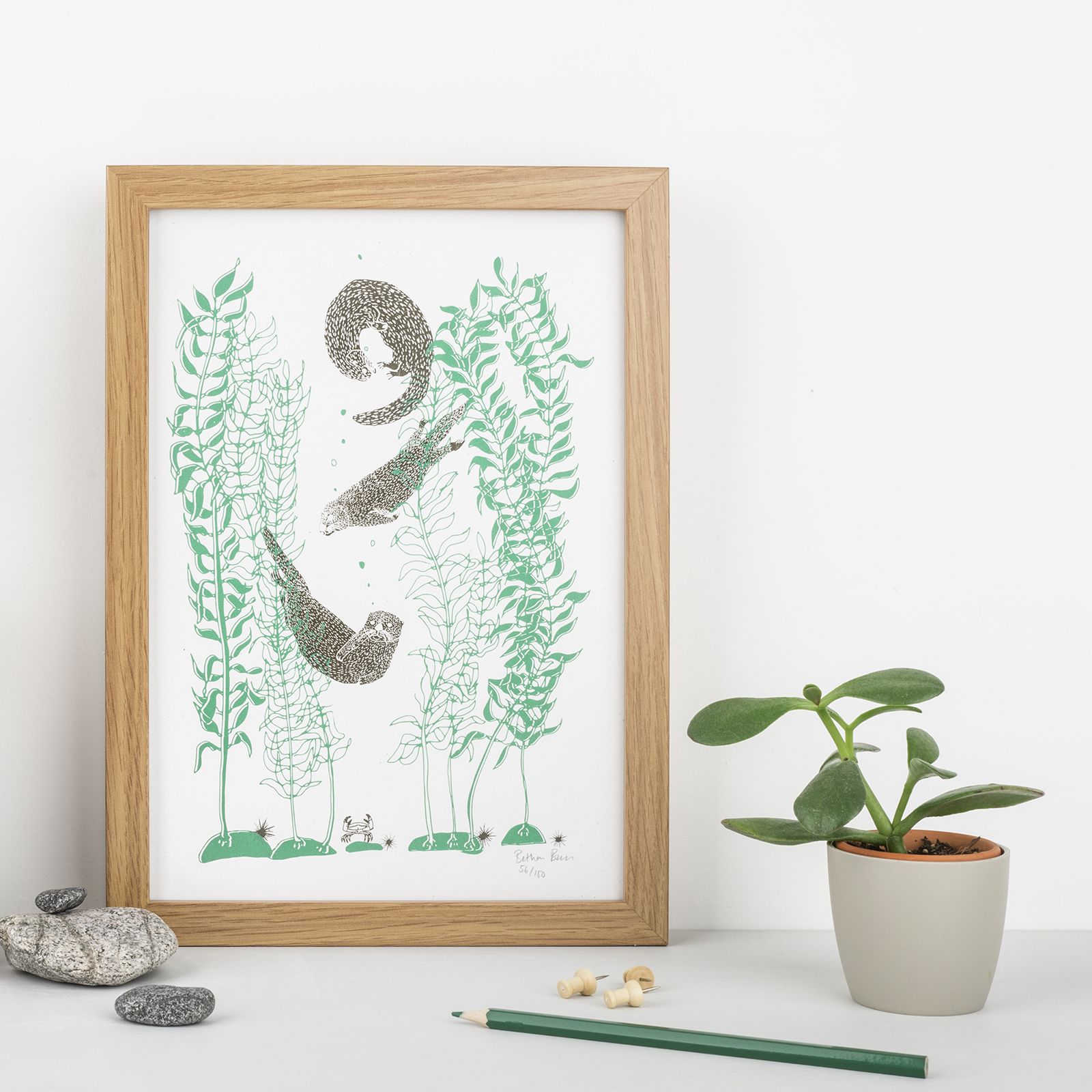 otter and kelp art print