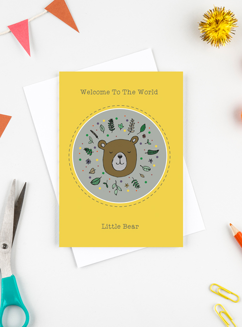 New baby card featuring a baby bear